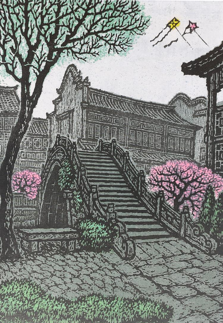 可爱的家乡的彩笔画