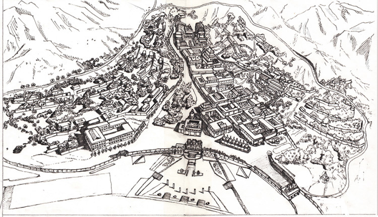 塔尔寺全景手绘地图(来源网络)