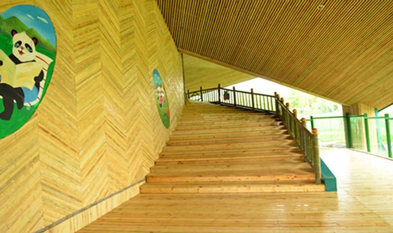 熊猫馆设计灵感是落叶的形状,采用钢结 构建筑为主,玻璃幕墙为辅的